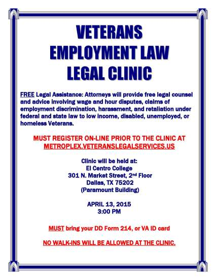 Veterans Employment Legal Clinic Flyer April 2015